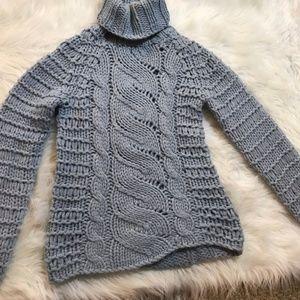 Dnky Jean's Chunky Knit Sweater Blue Gray Sz Small